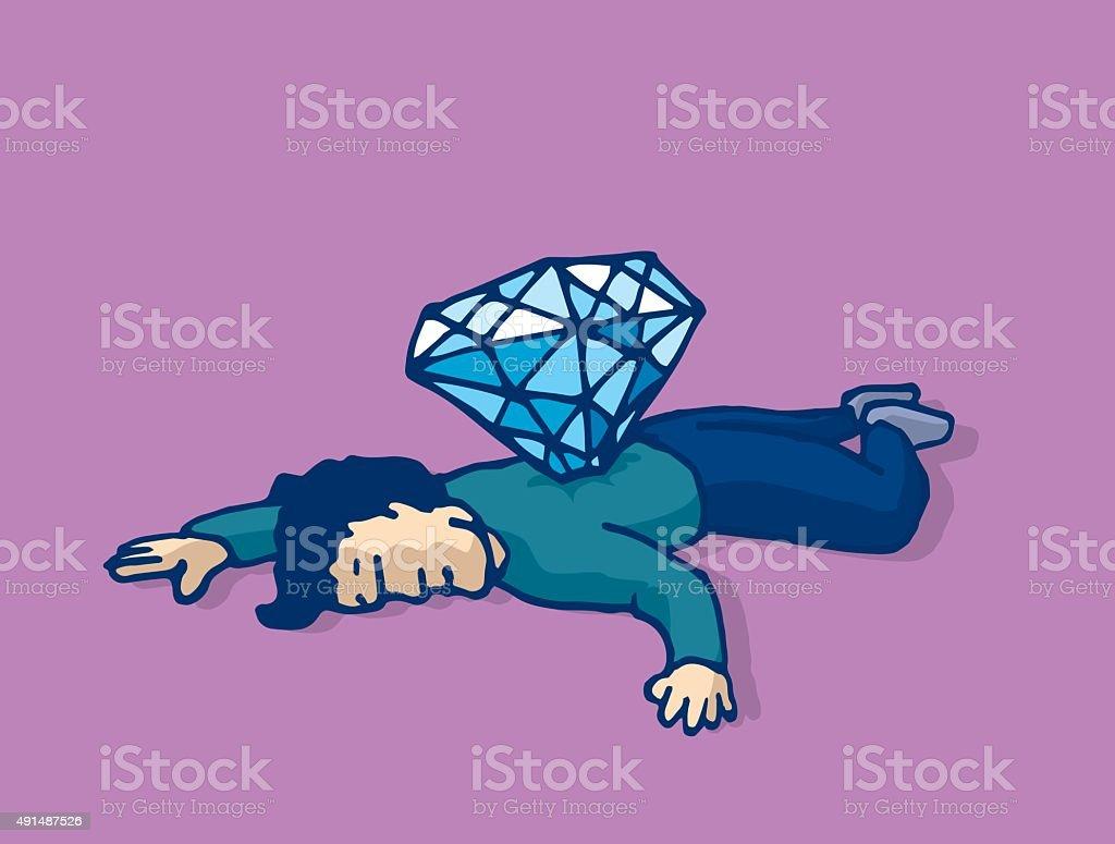 Dead man stabbed with diamond murdered for money vector art illustration