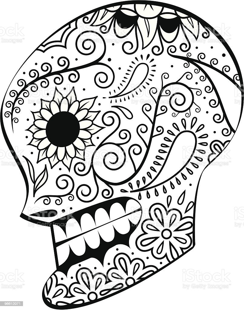 Dead Man's Calavera profile - Royalty-free Art And Craft stock vector