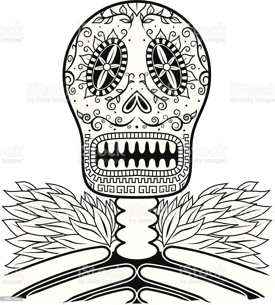 Dead Man's Calavera two - Royalty-free Black And White stock vector