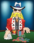 """Flashy yet stoic gambler displaying the classic """"Aces and Eights"""". Whiskey glass is rendered seperately and can be removed to reveal table edge. Chips are also seperate renders and can be ungrouped, removed, seperated and/or duplicated to create minimal or massive winnings."""