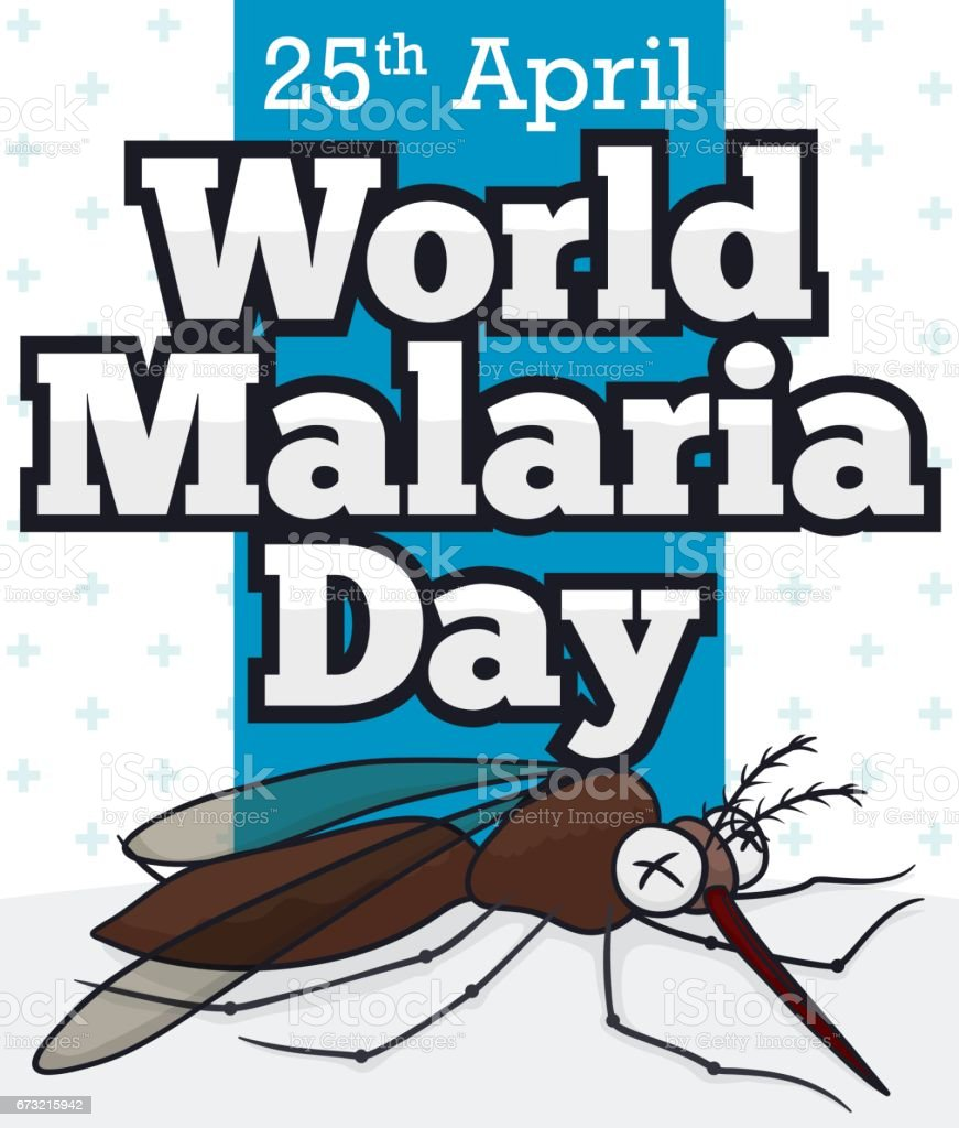 Dead Mosquito in Cartoon Style for World Malaria Day векторная иллюстрация