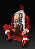 Santa Claus is dead in a pool of his own blood with a stake in his chest.