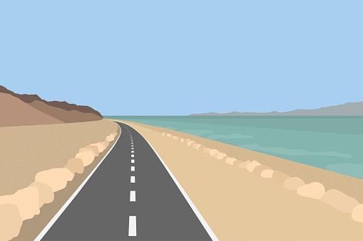 Dead Sea landscape. Coastline with mountains, road and salt sea water. Israel. Vector flat realistic illustration.