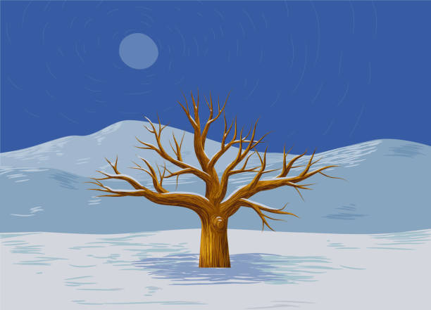 Dead tree in the middle of a snowy landscape vector art illustration