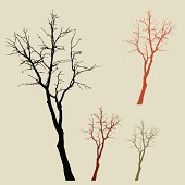 Dead wood silhouettes set in earth tones