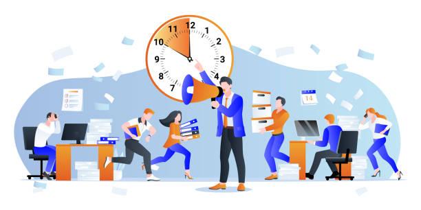 stockillustraties, clipart, cartoons en iconen met deadline en overwerk concept. vectorillustratie. manager zet kantoormedewerkers onder druk. problemen met tijdbeheer - overwerkt