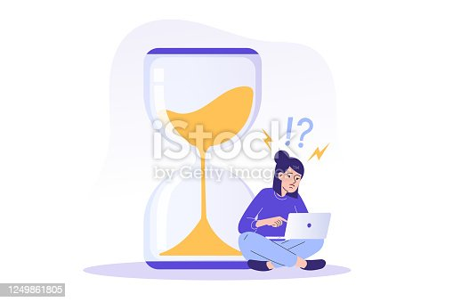 istock Deadline and time management concept. Young freelancer woman sitting near a big sand watch and trying to finish project on time. Task management and productivity. Isolated vector illustration 1249861805