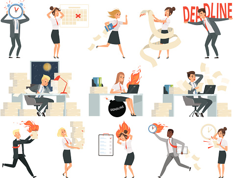 Deadline characters. Business overworked people directors managers stressed and rushing danger workspace vector people isolated