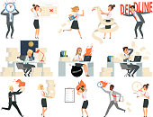 Deadline characters. Business overworked people directors managers stressed and rushing danger workspace vector people isolated. Illustration of deadline rushing on workspace, overtime and overworked