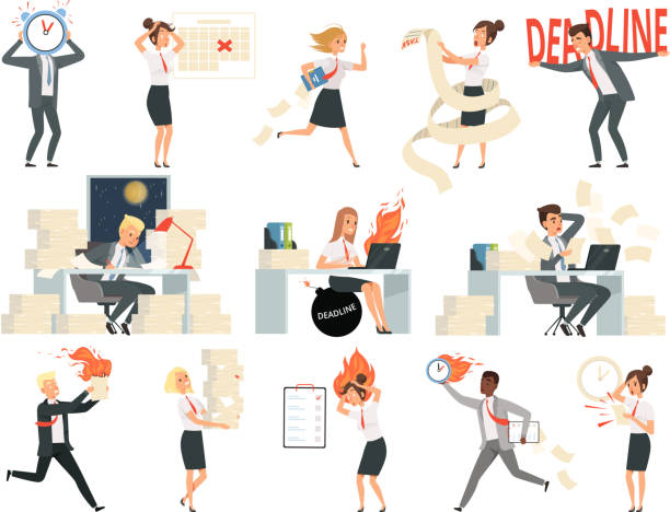 Deadline characters. Business overworked people directors managers stressed and rushing danger workspace vector people isolated Deadline characters. Business overworked people directors managers stressed and rushing danger workspace vector people isolated. Illustration of deadline rushing on workspace, overtime and overworked overworked stock illustrations