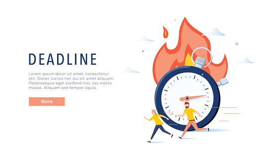 Deadline concept illustration, perfect for web design, banner, mobile app, landing page, vector flat design