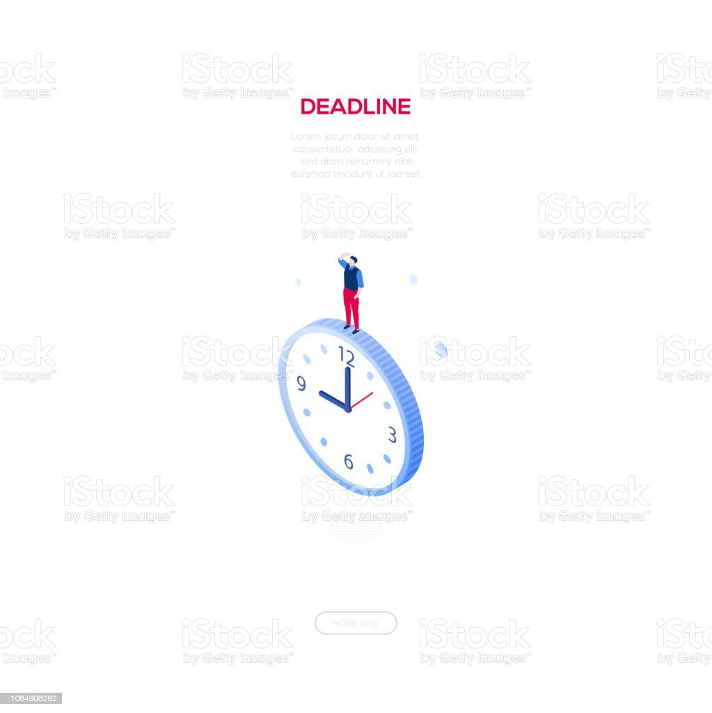 Notion de délai - bannière web modern vector isométrique - Illustration vectorielle