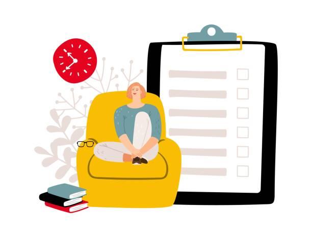 deadline-konzept. um liste und entspannte frau zu tun. vektor-verzögerungskonzept - entspannungsmethoden stock-grafiken, -clipart, -cartoons und -symbole