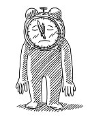 Deadline Depression Alarm Clock Man Drawing
