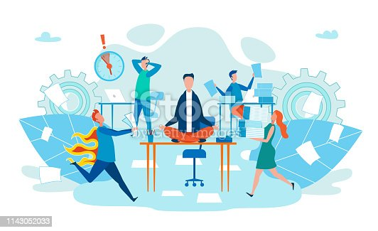 istock Deadline in Work Stress for Body Cartoon Flat. 1143052033