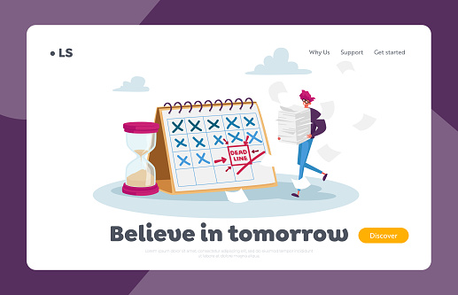 Deadline Landing Page Template. Tiny Stressed Businessman Character with Documents Pile at Huge Calendar Make Paperwork. Schedule, Affairs for Month, Work Planning. Cartoon Vector Illustration