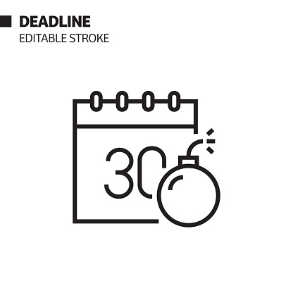 Deadline Line Icon, Outline Vector Symbol Illustration. Pixel Perfect, Editable Stroke.