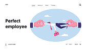 Deadline Situation and High Quality Professional Specialist Wanted Website Landing Page. Huge Human Hands Pulling Businessman at Opposite Sides Web Page Banner. Cartoon Flat Vector Illustration