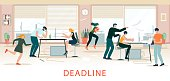 Deadline Situation, Office Chaos, Time Shortage. Stressed Office Workers Hurry Up with Job, Work Rush, Busy, Nervous Colleagues Fussing at Workplace. Overwork People, Cartoon Flat Vector Illustration