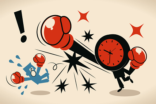 Blue Little Characters Vector Art Illustration. Deadline, stress and time pressure concept; Blue man is beaten up by an anthropomorphic time (clock).