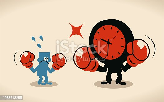 Blue Little Characters Vector Art Illustration. Deadline, stress and time pressure concept, blue man is fighting against time (clock).=to hurry to meet a deadline or to do something quickly. This can also be used for