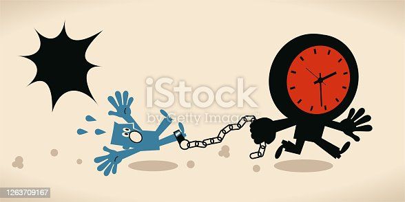 Blue Little Characters Vector Art Illustration. Deadline, stress and time pressure concept, tired blue man is tied up by a running time (clock).