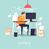 Deadline, the man is panicking. Flat design vector illustration.