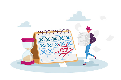 Deadline, Time Management in Business. Tiny Stressed Businessman Character with Documents Pile at Huge Calendar Schedule