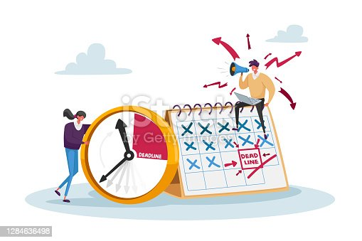 istock Deadline, Work Productivity, Time Management in Business Process Concept. Busy Businessman and Businesswoman Characters 1284636498