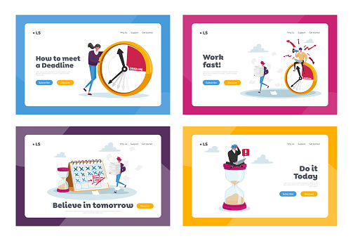 Deadline, Working Productivity, Time Management Landing Page Template Set. Busy Businessman and Businesswoman with Clock