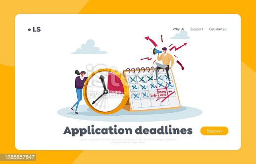 istock Deadline, Working Productivity, Time Management Landing Page Template. Busy Businesspeople at Huge Clock and Calendar 1285857847