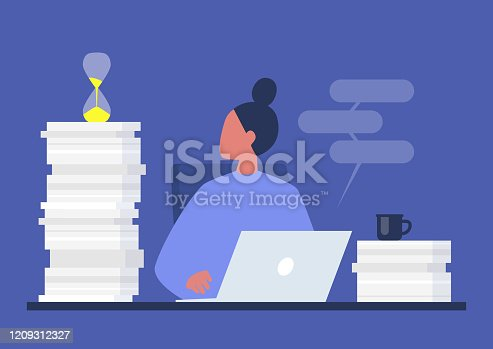 istock Deadline, young female project manager looking at the sand glass, millennials at work 1209312327