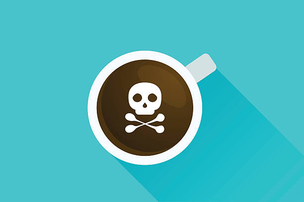 bildbanksillustrationer, clip art samt tecknat material och ikoner med deadly coffee - coffe with death