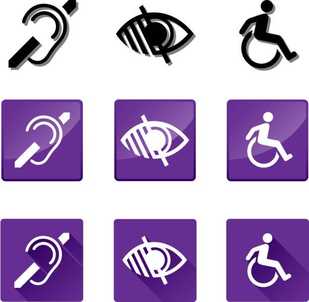 illustrazioni stock, clip art, cartoni animati e icone di tendenza di deaf, blind, disabled icons - sordità