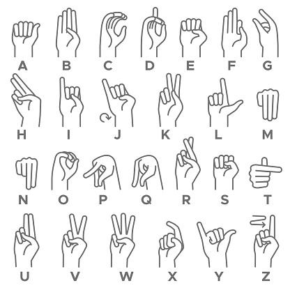 Deaf-mutes hand language. Learning alphabet, nonverbal deaf-mute communication, expressiveness asl gestures line vector set