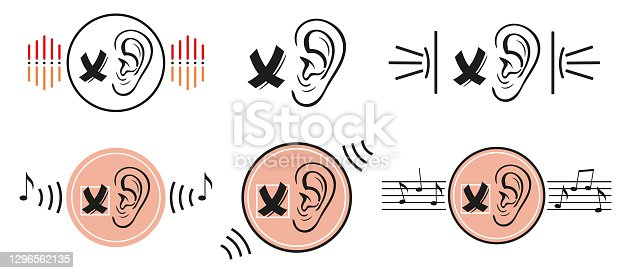 istock Deafness lack of hearing icon set. No sound. Human ear does not hear, silence. Impairment of sensory perception. Disability and aid deaf. Medical contour flat vector 1296562135