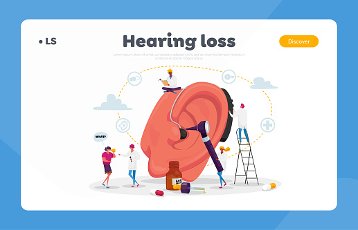 Deafness Landing Page Template. Deaf People with Hear Problems Visiting Doctor Audiologist for Ears Treatment. Tiny Characters around of Huge Ear Using Hearing Aid. Cartoon Vector Illustration