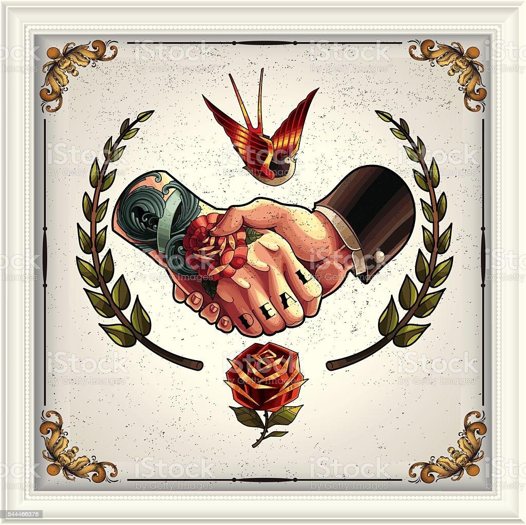 Oferta apretón de manos - ilustración de arte vectorial