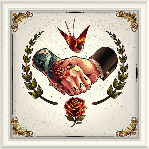 ilustraciones, imágenes clip art, dibujos animados e iconos de stock de oferta apretón de manos - tatuajes de estrellas