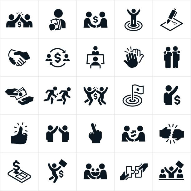 Deal Making Icons An icon set of business individuals making a deal with another person. The icons also show business partnerships being formed. two people stock illustrations