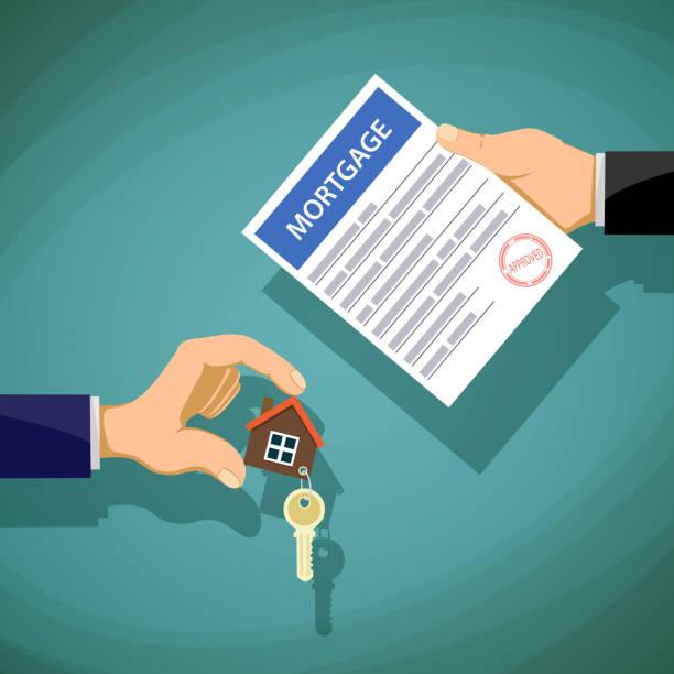 ilustraciones, imágenes clip art, dibujos animados e iconos de stock de deal with the real estate. - hipotecas y préstamos
