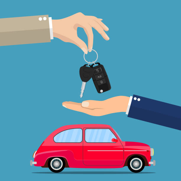Dealer giving keys chain to a buyer hand Dealer giving keys chain to a buyer hand. car rental or sale concept. vector illustration in flat style car key stock illustrations