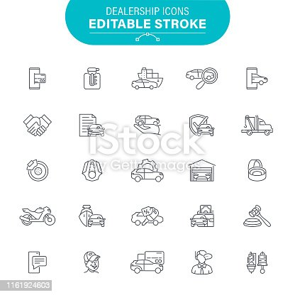 Auto Sales, USA, Auto Repair Shop, Service, Editable Icon Set