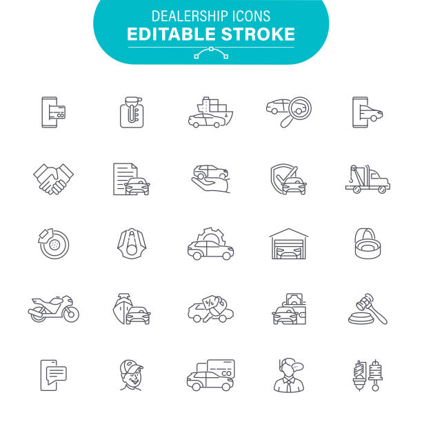Dealership Icons Auto Sales, USA, Auto Repair Shop, Service, Editable Icon Set test drive stock illustrations