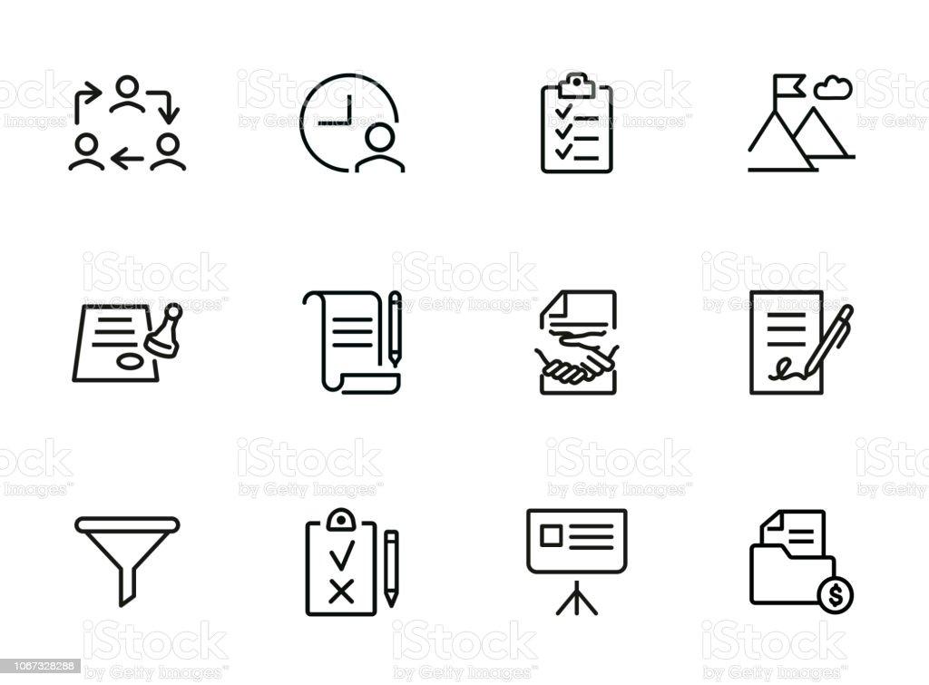 Omgaan lijn pictogramserie - Royalty-free Bedrijfsleven vectorkunst