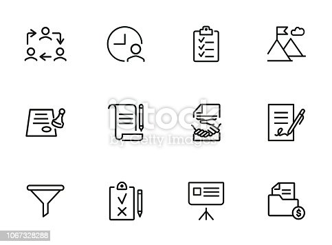 Dealing line icon set. Funnel, contract signing, handshake. Business concept. Can be used for topics like agreement, paperwork, money making