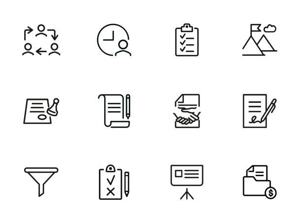 umgang-linie-icon-set - unterschrift stock-grafiken, -clipart, -cartoons und -symbole