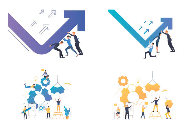 Dealing with crisis illustration set Dealing with crisis illustration set. Business team turning up decrease chart arrow, building gears. Business concept. Vector illustration for landing pages, presentation slide templates crisis stock illustrations