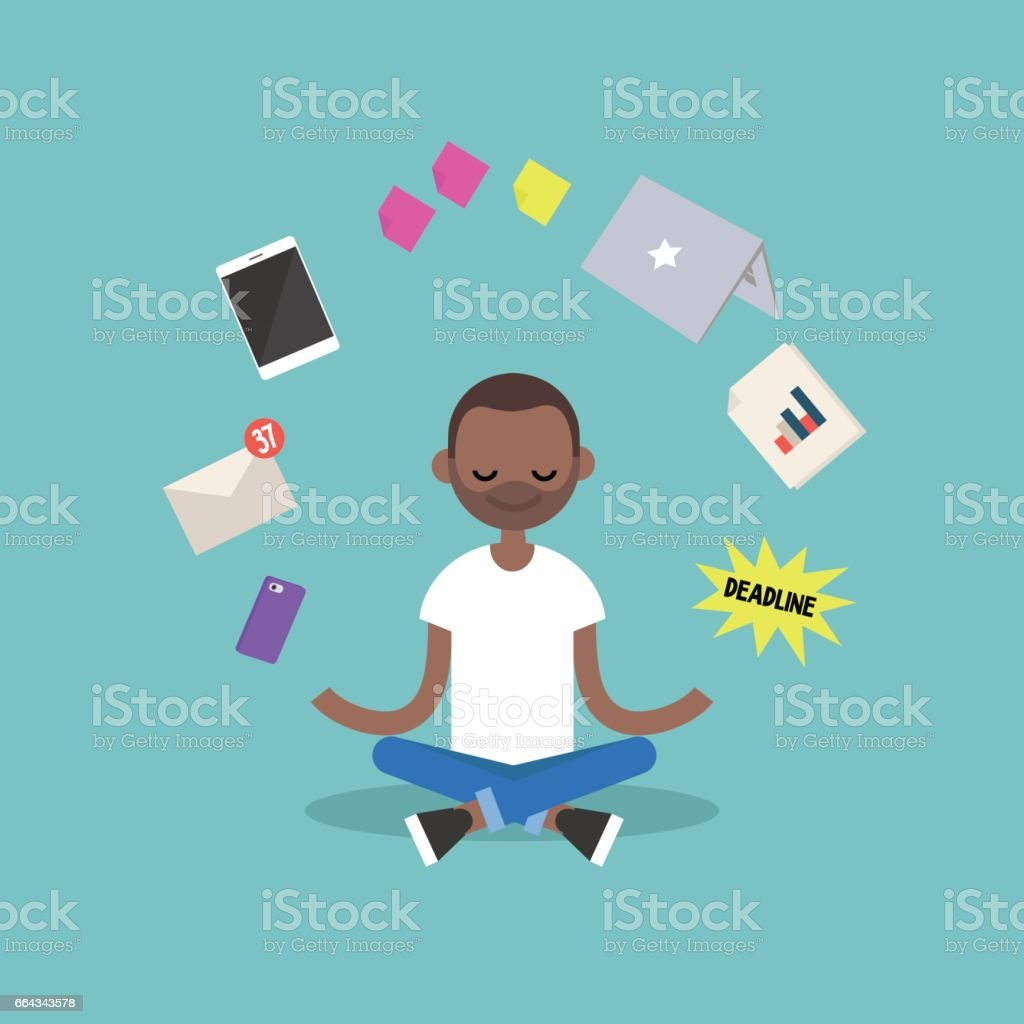 Dealing with stress. Young black man meditating with closed eyes in lotus pose surrounded by floating gadgets. Yoga and meditation / flat editable vector illustration, clip art vector art illustration