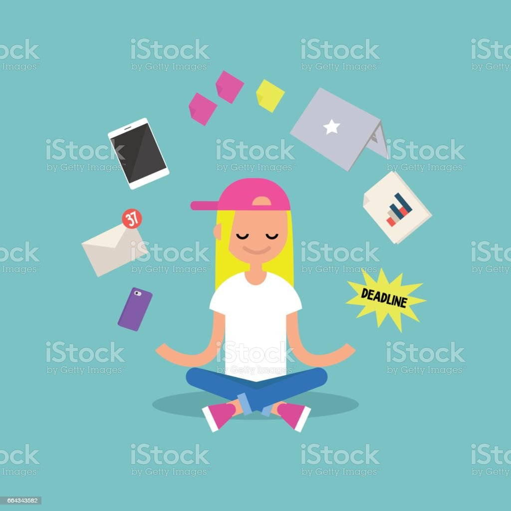 Dealing with stress. Young blond girl meditating with closed eyes in lotus pose surrounded by floating gadgets. Yoga and meditation / flat editable vector illustration, clip art vector art illustration